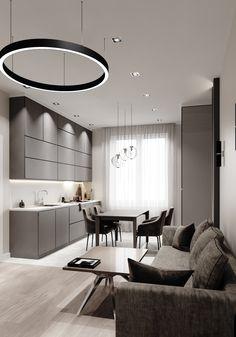 Small Apartment Interior, Condo Interior, Interior Design Kitchen, Living Room Tv Unit, Living Room Kitchen, Living Room Decor, Living Room Lighting, Small Apartments, Location