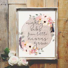Mighty Oaks from Little Acorns Grow Nursery Art by LoveSupplyCo