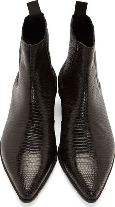 Saint Laurent Black Lizard Skin Winklepicker Boots