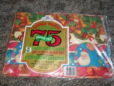 Vintage Christmas wrapping Paper 9 Giant sheets 9 Designs 75 Sq Ft NIP NOS