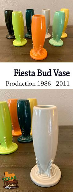 Everything about Fiesta ware Bud Vases, post-86 and produced from 1986 to 2011. Very sleek art deco! Homer Laughlin, Bud Vases, Hurricane Glass, Dinnerware, Art Deco, Tableware, Fun, Party, Dinner Ware