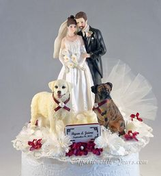 Customized pets with bride and groom wedding cake topper. Shown with boxer and mixed breed dog in ivory with burgundy accents. Personalized hair color changes and trim beard on groom.  Includes name and wedding date plate.  http://www.affectionately-yours.com/yours-mine-and-ours-wedding-cake-topper/