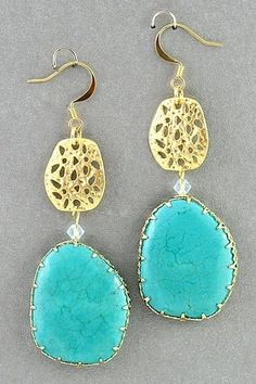 Turquoise and Gold | http://coolearringscollections.blogspot.com