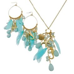 Blue Sea Necklace and Earrings Set Free Shipping, No Fees $54.50