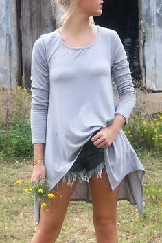 Long Sleeve Irregular Hem Grey Dress