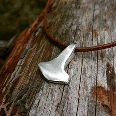 Handmade rustic thors hammer. Silver Mjolnir pendant