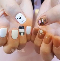9 cute cartoon hand-painted series nail art – Painting your life! Bling Nail Art, Red Nail Art, Foil Nail Art, Nail Art Diy, Black Nail, Cartoon Nail Designs, Cute Nail Designs, Kawaii Nail Art, Pedicure Nail Art