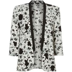 Vila Floral print blazer ($33) ❤ liked on Polyvore featuring outerwear, jackets, blazers, clearance, floral blazer, long sleeve blazer, flower print jacket, flower print blazer and floral jacket