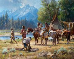 Snake River Culture Art Prints by Martin Grelle Artist. This scene from a Native American encampment is exactly what you would expect with teepee's, blankets, scouts Native American Wisdom, Native American Artists, Native American History, Native American Drawing, American Indian Art, American Indians, Pierre Brice, West Art, Cowboy Art