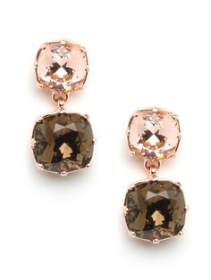 A peachy rose gold setting really brings out the rich shades of brown in these drop earrings. Square cut Swarovski crystals in smoky topaz and rich brown are set in a rose gold-tone base and hang in a short row. Jewelry Shop, Jewelry Accessories, Fashion Accessories, Fashion Necklace, Fashion Jewelry, Gold Set, Glamour, Pink Brown, Pink Olive