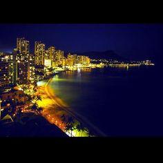 night lights Waikiki beach