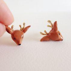 Enamel Deer Earrings Ring - Enamel Earrings, Animals Earrings, Animals Jewelry, Enamel Brass Jewelry, Gift, Mary Lou, Deer Earrings, Hart by MaryLouBangkok on Etsy