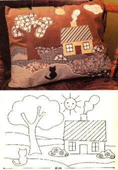 Аппликации из ткани для подушки Applique Cushions, Wool Applique Patterns, Hand Applique, Applique Embroidery Designs, Applique Quilts, Patchwork Cushion, House Quilt Patterns, House Quilt Block, Quilting Projects