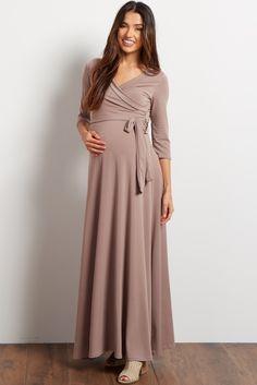 Mocha Draped 3/4 Sleeve Maxi Dress