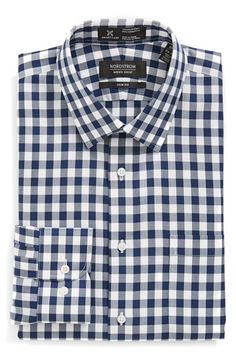 Free shipping and returns on Nordstrom Smartcare™ Trim Fit Check Dress Shirt at Nordstrom.com. Oversized gingham checks mark a sharp, easy-care dress shirt fitted with a measured spread collar and rounded, adjustable-button cuffs.