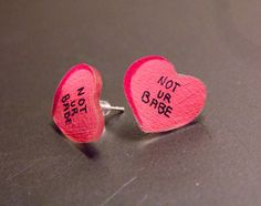 Not Ur Babe Earrings Pink, Sweetheart studs, Pastel Goth Fashion, Creepy cute, feminist quotes jewelry, tumblr saying by Ectogasm on Etsy
