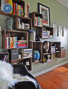 crates shelves | estante de caixas #decor #estante #crates