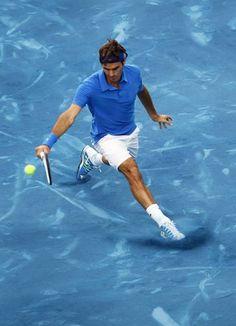 Roger Federer na quadra azul, q nao existe mais, do Madrid Open. E vamos bater reto…