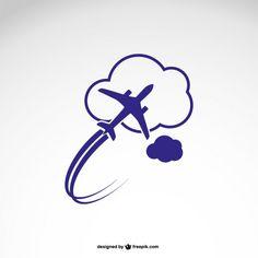 Logo modèle avec avion Vecteur gratuit