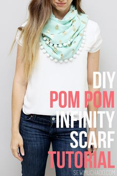 Use this DIY Pom Pom Infinity Scarf Tutorial to create your own adorable scarf! Perfect for layering with your favorite outfits!