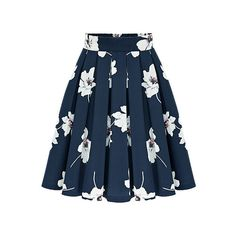 SheIn(sheinside) Flowers Print Chiffon Pleated Navy Skirt ($18) ❤ liked on Polyvore featuring skirts, navy, summer skirts, floral a line skirt, navy blue skirt, blue skirt and pleated skirt