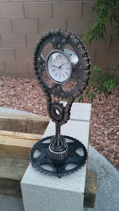 Steampunk style Skulll clock welded with upcycled metals avaliable on Etsy.com/shop/AK47Dezines