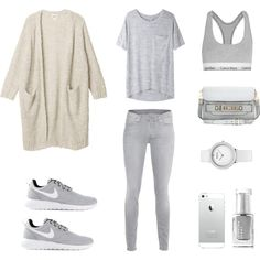 Grey and Cream by fashionlandscape on Polyvore featuring Mode, Monki, rag & bone/JEAN, 7 For All Mankind, Calvin Klein Underwear, NIKE, Proenza Schouler and Leighton Denny