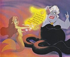 Ariel signing Ursula's contract