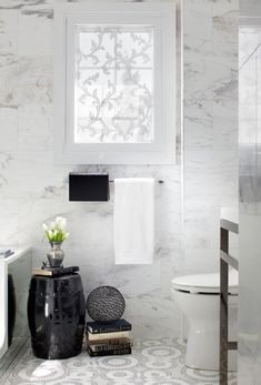 Bathroom Space for a Canadian Crooner - contemporary - bathroom - toronto - Toronto Interior Design Group Bathroom Window Coverings, Bathroom Windows, Bathroom Interior, Modern Bathroom, White Bathroom, Serene Bathroom, Master Bathroom, Shower Window, Bathroom Stand