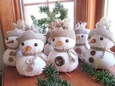 Items similar to Snowmen , Rustic Christmas , Snowmen Ornament , Christmas Decor , Ornament. on Etsy Rustic Style Christmas Snowmen Christmas Decor by Sock Snowman Craft, Sock Crafts, Snowman Crafts, Snowman Ornaments, Christmas Snowman, Rustic Christmas, Diy And Crafts, Christmas Crafts, Christmas Ornaments