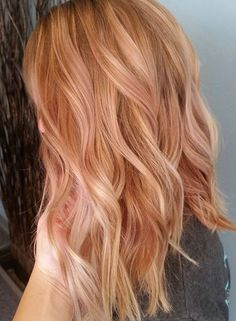Rose Gold Hair Colors for Medium Length Hairstyles 2017 Balayage