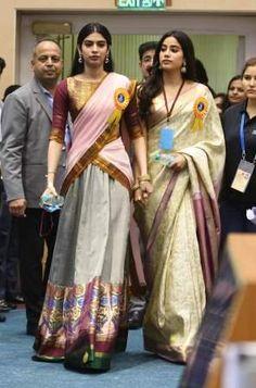Boney, Khushi and Janhvi Kapoor look proud as Sridevi gets her first National Award. See pics Half Saree Designs, Pattu Saree Blouse Designs, Half Saree Lehenga, Saree Dress, Sari, Indian Gowns Dresses, Indian Outfits, Saree Draping Styles, Desi Wear