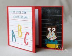 Grußkarte zum Schulanfang mit selbstgemachtem Designerpapier, Eulenstanze von Stampin' Up!  #CarosBastelbude #stampinup carosbastelbude.wordpress.com