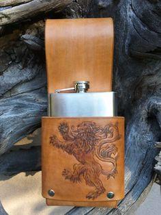 Rampant Lion leather flask holder