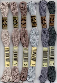 embroidery floss DMC six-stranded embroidery floss 400 series: 400 - Mahogany - Dark; 402 - Mahogany - Very Light; Dmc Embroidery Floss, Embroidery Bracelets, Embroidery Thread, Embroidery Patterns, Embroidery Floss Projects, Geometric Embroidery, Diy Friendship Bracelets Patterns, Diy Kit, Pewter Grey