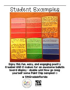 Use this little freebie as an rough draft template for your kiddos to create the paint chip poems! Real student examples are provided. 6th Grade Writing, Middle School Writing, Teaching Writing, Writing Rubrics, Paragraph Writing, Opinion Writing, Persuasive Writing, Poetry Examples, Sensory Details