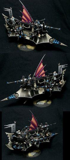 Dark Eldar Ravager- I kinda like the black Warhammer 40k Dark Eldar, Eldar 40k, Warhammer Paint, Warhammer Models, Warhammer 40000, Warhammer 40k Miniatures, Mini Paintings, Retro, Games Worshop