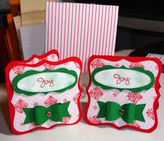 fb0ca869c65e 3x3 Christmas note card tags and envelopes made with CTMH Artiste and Art  Philosophy Cricut Cartridges