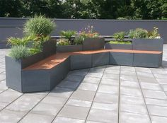 Galvanized steel planter / in wood / for public areas / with integrated bench OASIS ATECH