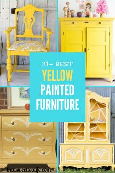 Give an outdated piece of furniture a beautiful and fresh new look with yellow paint. There are over 21 different yellow painted pieces of furniture in all shades of yellow to inspire you. Colorful Furniture, Furniture Makeover, Yellow Furniture, Furniture Inspiration, Painted Furniture For Sale, Painted Desk, Painted Furniture Colors, Diy Furniture Projects, Yellow Painted Furniture