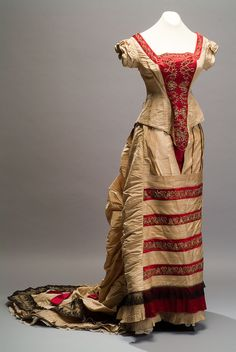 Gold Embroidered Evening Gown, ca. 1870s
