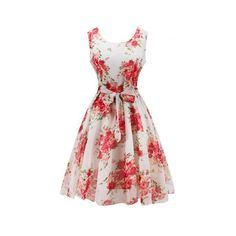Retro Belted High Waisted Flowers Dress (1585 DZD) ❤ liked on Polyvore featuring dresses, blossom dress, retro style dresses, white dress, white flower dress and white day dress