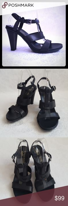 """NWT Donald J Pliner Leather Sandals Donald J Pliner black leather strappy high heel sandal with 4"""" heel. Style is""""FRIZY"""". Made in Italy.  New, with tags. Excellent condition. Smoke free and pet free home.  Check out my other listings - 100's of 👠shoes👠, 👢boots👢 and 👜bags👜. Bundle 2 or more and save money!💲💰💲 (81424) Donald J. Pliner Shoes Heels"""