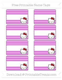 Free Orchid Horizontal Striped  Hello Kitty Name Tags