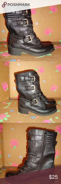 SEXY MOSSIMO BLACK BIKER BOOTS 6 SEXY MOSSIMO BLACK BIKER BOOTS ZIPS ON INSIDE  TIES IN FRONT BUCKLES ON SIDE SIZE 6 NEW CONDITION ALL MAN MADE MATERIALS Mossimo Supply Co. Shoes Ankle Boots & Booties