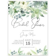 Exclusively designed by the design team at Forever Your Prints. A gorgeous bouquet of subdued botanicals are framed by verdant greenery in this delightful interpretation of a modern bridal shower invitation. Winter Bridal Showers, Simple Bridal Shower, Garden Bridal Showers, Beach Bridal Showers, Bridal Shower Cards, Bridal Shower Favors, Bridal Shower Invitation Wording, Wedding Shower Invitations, Invites