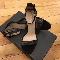 NEW Pelle Moda Kacey Sandal in Black Suede Never been worn Pelle Moda Kacey Sandal in Black Suede with crystal embellishments. These were used in an Ad campaign in Manhattan, which has since been completed. Pelle Moda Shoes Heels