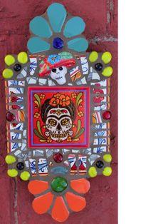 """FRIDA"" Day of the Dead Mosaic Retablo by New Mexico Artist Susanne Baca"