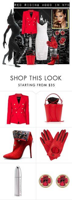 """""""RED RIDING HOOD IN NYC..."""" by iluvys ❤ liked on Polyvore featuring Balmain, Versace, Mateo, Gizelle Renee, Juliette Has A Gun, Ivy, NYC, RedRidingHood, halloweencostumes and happyhalloween"""