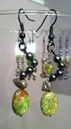 Tropical Stone Dangle Earrings Natural Imperial by Outersprays, $14.99